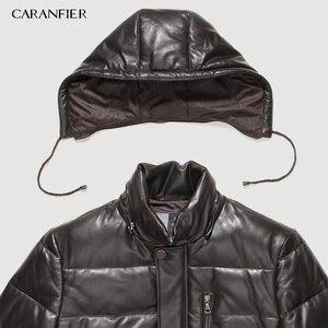 Image 3 - CARANFIER 新 2019 ジャケット男性本革ダウンジャケット冬のアウターシープスキンのコートのオーバーコート