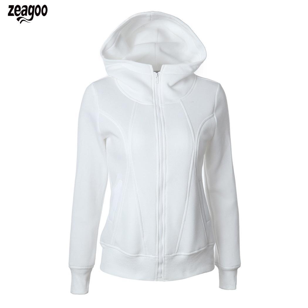 New Fashion Women Casual Hooded Long Zipper, Sleeve Regular Fit Solid Hips Length Zipper Pocket Hoodie