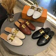 2021 europeu e americano novo estilo senhoras sapatos muller metal chinelos planos decorativos