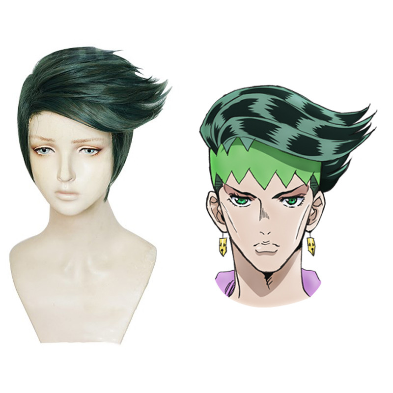 New JoJo's Bizarre Adventure Rohan Kishibe Cosplay Wig Short Dark Green Heat Resistant Synthetic Hair Wigs + Wig Cap