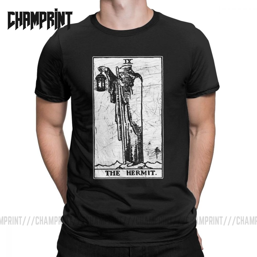 The Hermit Tarot Card T-Shirt Major Arcana Fortune Telling Occult T Shirts For Men 100% Cotton Tees Short Sleeve Tops Gift Idea