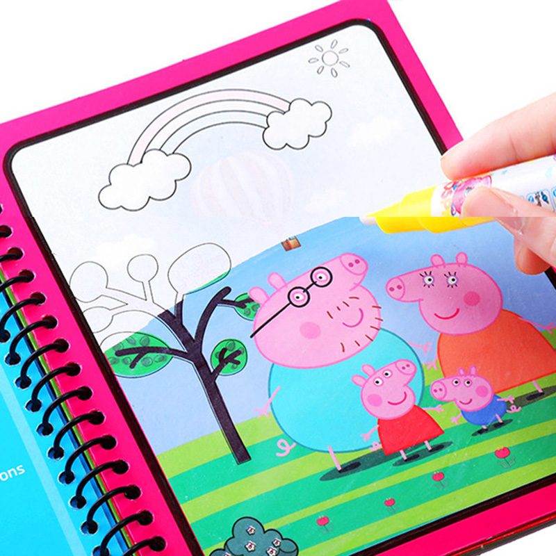 Peppa Pig Magic Drawing Toy Set Water Coloring Book Girl Toys Drawing Board Reusable Magical Water Montessori Book Gift For Kid