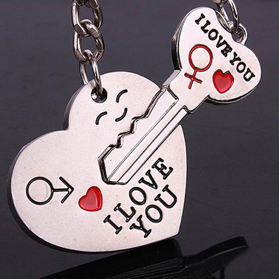 1 Pair I LOVE YOU Letters Keychain Heart Shaped Keyring For Lovers Girlfriend Boyfriend Valentine's Day Couple Gift