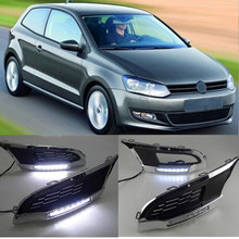 CAPQX 1 para dla VW Polo 2010 2011 2013 światła do jazdy dziennej LED DRL światło do jazdy dziennej lampa do jazdy osłona przedniego światła przeciwmgielnego czapka rama