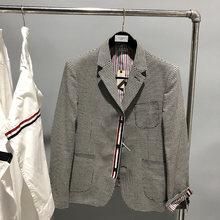 2021 moda tb thom marca blazer masculino roupas casuais cinza xadrez terno fino ajuste jaqueta masculina único breasted lã casaco de inverno