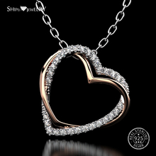 Shipei 100% 925 Sterling Silver Heart Necklace White Gold Silver 925 Jewelry Double Heart Necklace for Women Birthday Gift u7 100% 925 sterling silver 3d little angel necklace for girl women birthday gift dainty jewelry silver 925 chain