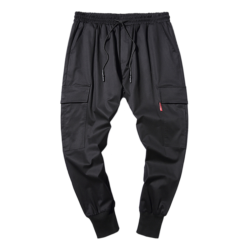 Autumn Mens 100%Cotton Casual Cropped Cargo Pants Male Loose Plus Size Japanese Fashion Style Straight Long Trousers Overalls