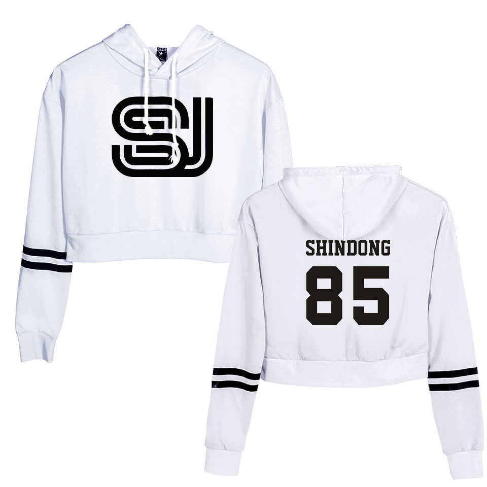 Navel Hoodies streetwear Super junior Women  hoodie crop top Women sweatshirt Clothes Harajuku sexy Hoodies streetwear tops