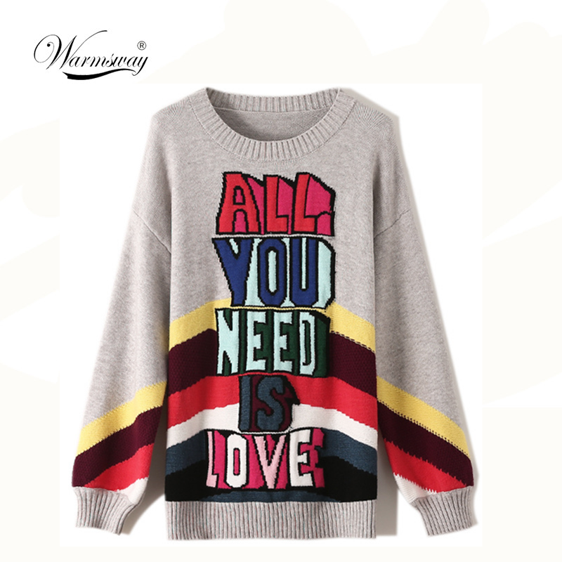 Knitwear Pullover Women's Autumn And Winter Jackets Rainbow Striped Letters Jacquard Loose Long Sleeve Fashion Sweater CY-004