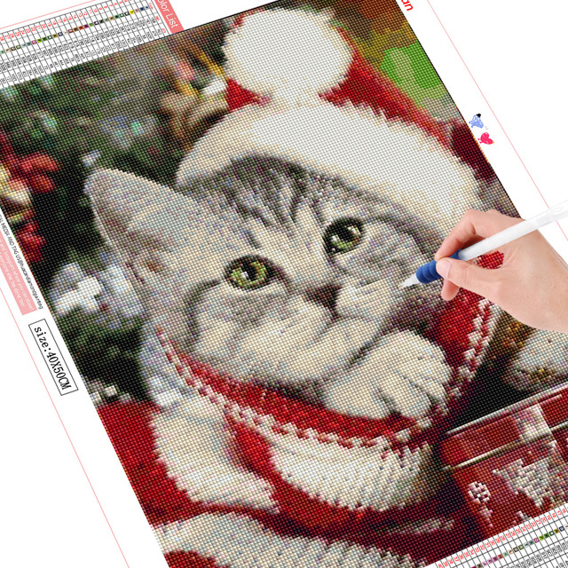 HUACAN Christmas 5D DIY Diamond Painting Cat Full Drill Square Diamond Embroidery Dog Winter Decor Home