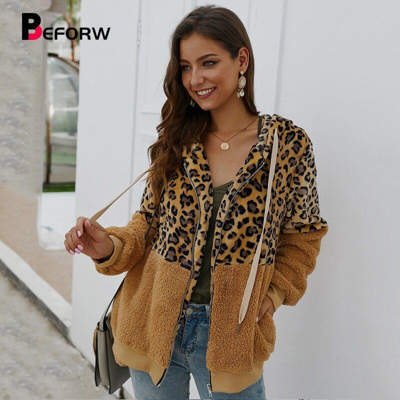 BEFORW 2019 Fashion Leopard Corduroy Jacket Coat Women Vintage Zipper Hooded Long Sleeve Winter Thick Jackets Streetwear Coats