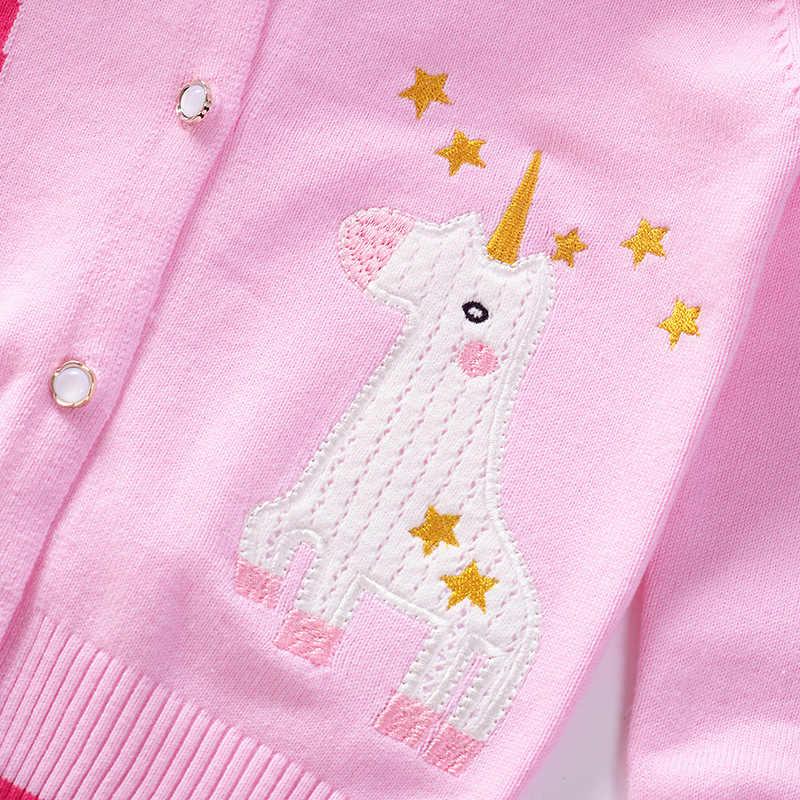 여자 싱글 레이어 니트 카디 건 2019 가을, 겨울 새 스타일 어린이 싱글 레이어 스웨터 5 세 어린이 스웨터