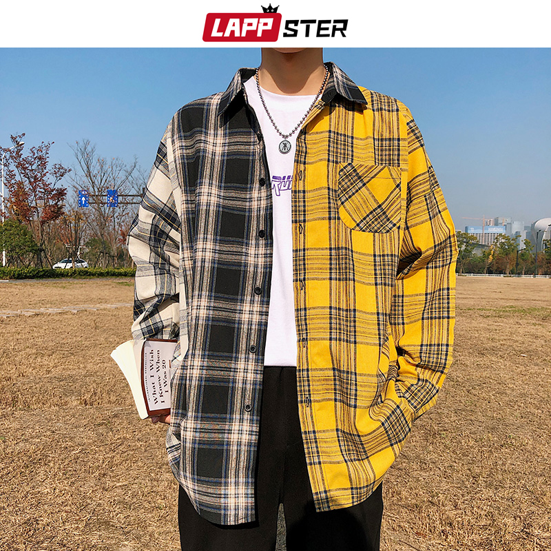 LAPPSTER Men Oversized Cotton Plaid Shirt 2020 Man Hip Hop Patchwork Button Up Long Sleeve Shirt Couple Korean Harajuku Clothing