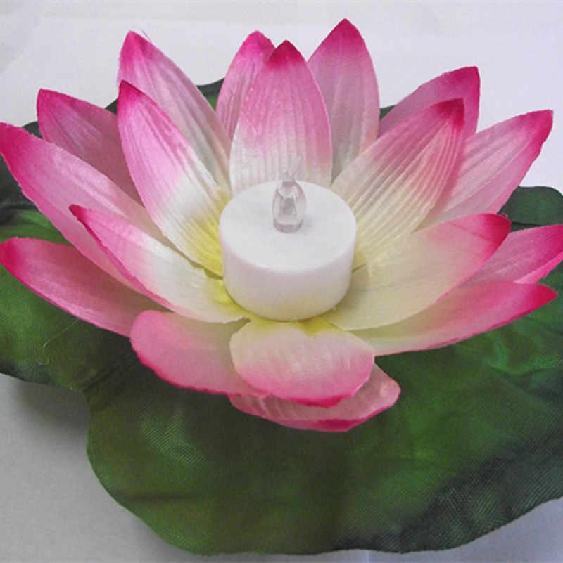 10 Uds LED colorido cambiados luminoso artificial flor de loto lámparas flotantes decoraciones de la piscina luz de noche suministros de fiesta