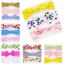 3Pcs/Set Newborn Knotted Headband Soft Cotton Hair Bands for Girls Stretchy Print Bunny Head Band Baby Accessories
