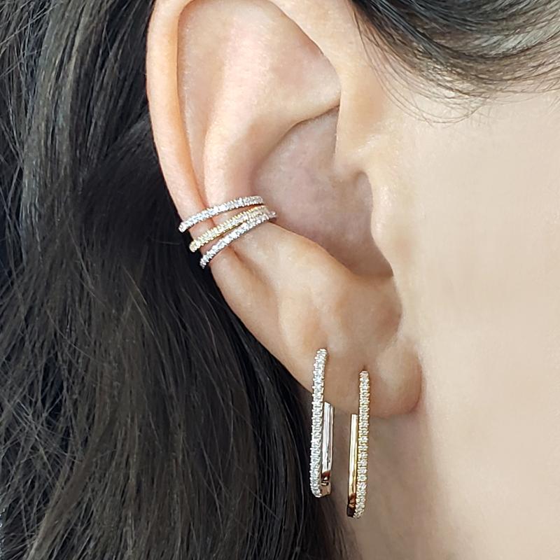 ANDYWEN 925 Sterling Silver Gold Hoop Earring Crystal Long Hole Huggies Loops Clips For 2019 Fashion Rock Punk Women Jewellery