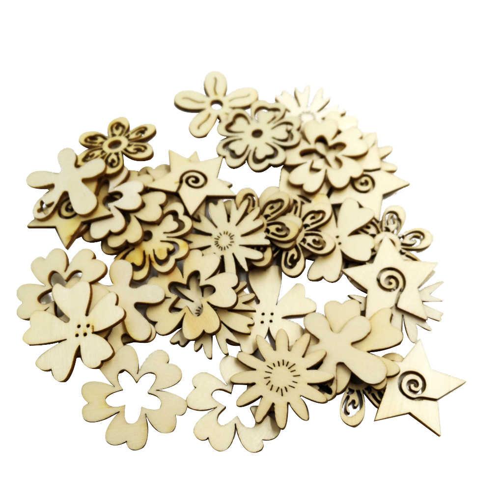 EXCEART 50 Unids//Set Adornos de Madera Recortes Formas de Flores Decoraciones Rebanadas de Madera Artesan/ías sin Terminar Adornos