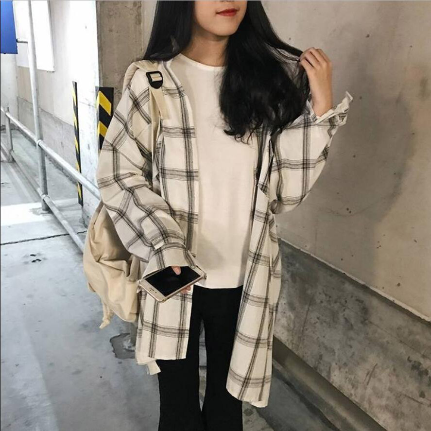Blouses Women Classic Long Plaid Vintage Simple Student Korean Style Womens Shirts All-match Casual Soft Harajuku Fashion Daily