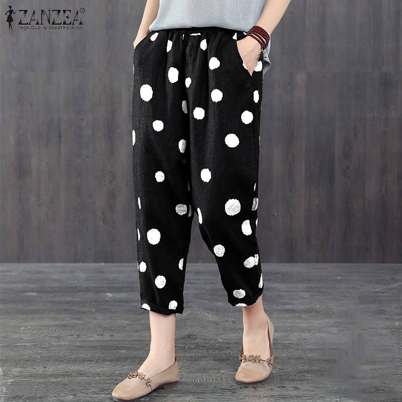 Plus Size Women Polka Dot Print Pants Casual Elastic Waist Harem Trousers ZANZEA Ladies Pockets Loose Streetwear Pantalon Mujer