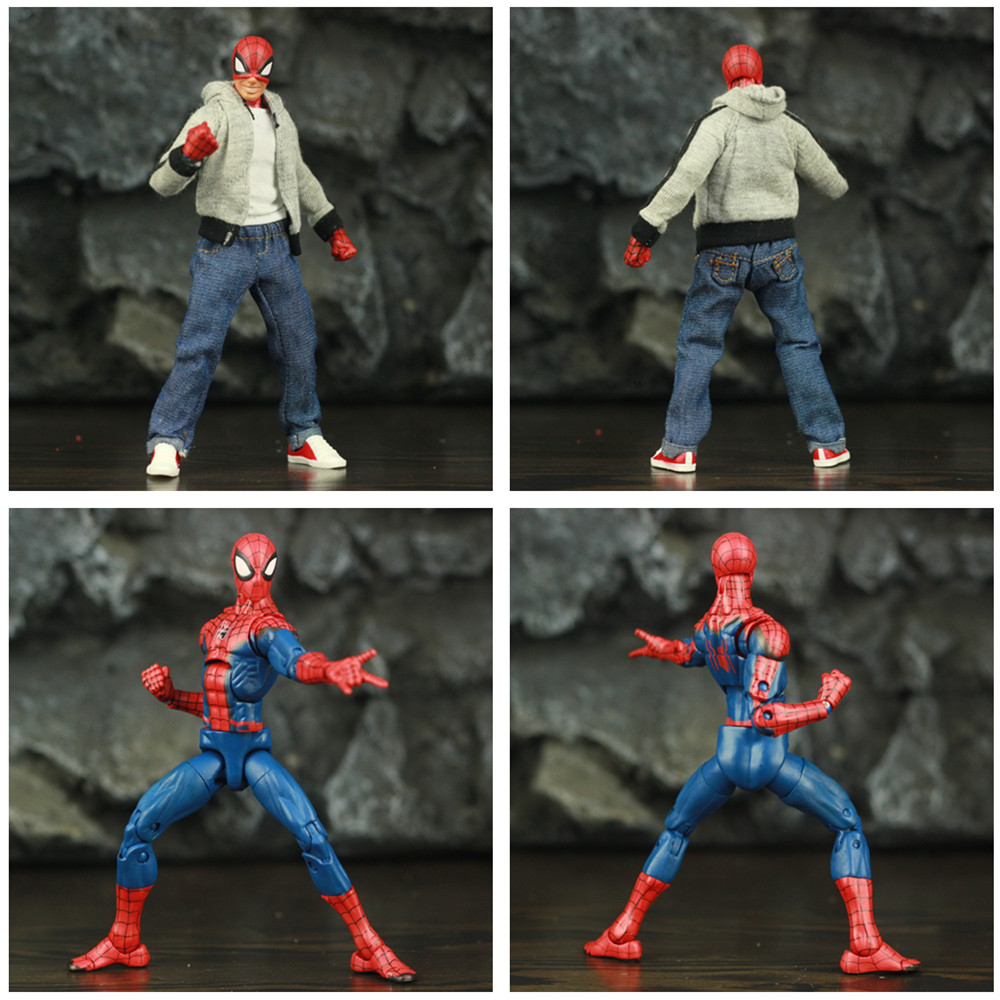 "Image 4 - Spider Man Peter Parker 6"" Action Figure Classic Cloth T shirt Jeans Stanley KOs Marvel Legends Comic Pizza Spiderman Toys DollAction & Toy Figures   -"