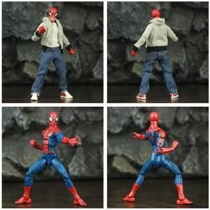 "Image 4 - Spider Peter Parker 6 ""Action Figure Classic Doek T shirt Jeans Ko S Ml Legends Comic Pizza Avenger Vader Man speelgoed Pop Model"
