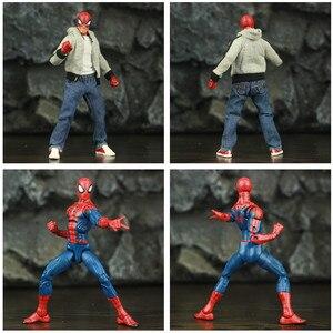 """Image 4 - Spider Peter Parker 6 """"figurine classique tissu T shirt jean KOs ML légendes bande dessinée Pizza vengeur père homme jouets poupée modèle"""