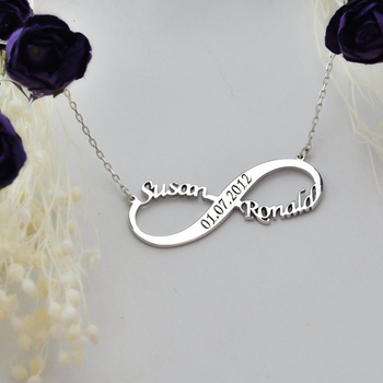 Custom Infinite Name Layer Necklace For Women Engraved Date & Vintage Necklace Gold Stainless Steel Jewelry Valentine's Day gift vintage engraved floral anklet for women