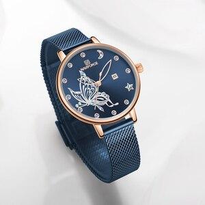 Image 2 - NAVIFORCE женские часы люксовый бренд reloj бабочка часы Модные Кварцевые женские сетки из нержавеющей стали водонепроницаемый подарок reloj muje