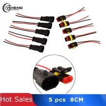 Vehemo Горячая 5 компл. 2 булавки авто автомобиль водонепроницаемый Электрический разъем адаптер W/провода AWG черный Высокое качество