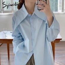 Syiwidii camicette da donna camicia con bottoni colletto grande coreano 2021 Vintage manica lunga donna top camicia e camicetta in cotone bianco blu