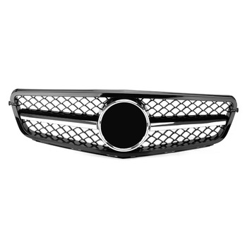 Car Front Bumper Grille Radiator Upper Mesh Grill for Mercedes C-Class Benz W204 C300 C350 2008-2014 Racing Grille Gloss Black image