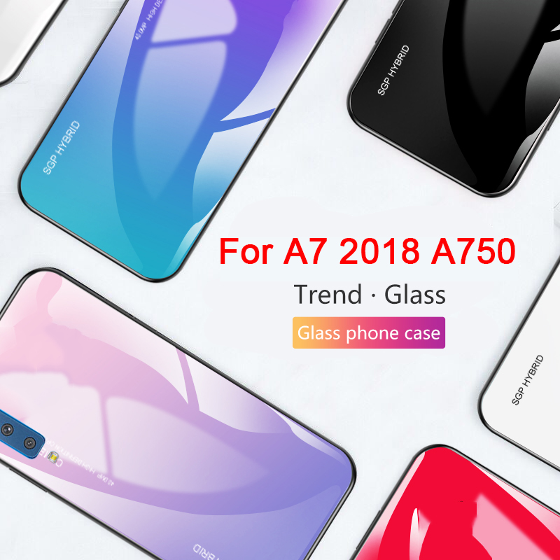 Colorful Tempered Glass Case on For Samsung Galaxy A7 2018 A 7 2018 <font><b>a72018</b></font> Back Protector A750FN/DS A750F A750G Soft TPU Shell image