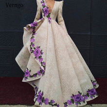 Вечернее платье с длинным рукавом v образным вырезом и 3d цветочной