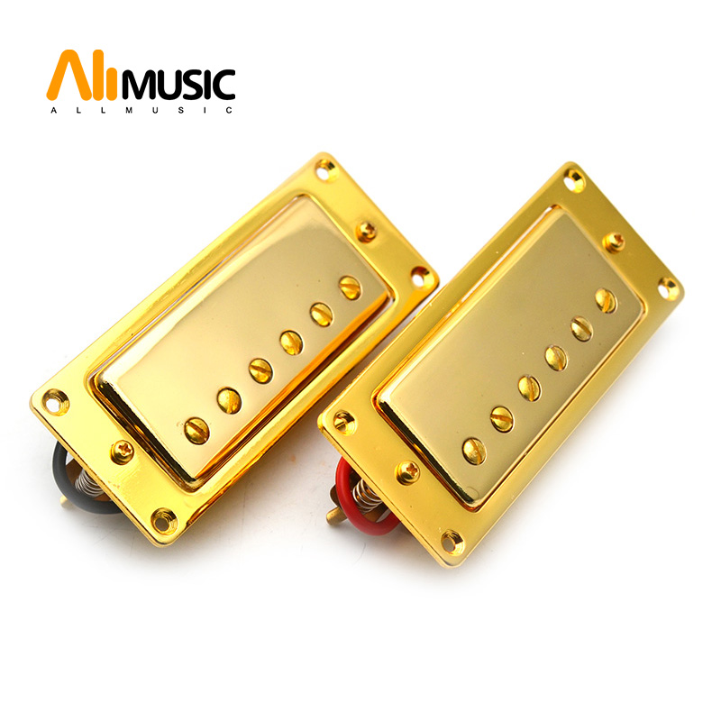 Mini 6 Hole Electric Guitar Humbucker Pickup For LP Guitar Gold