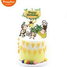 1 Set Cute Forest Monkey Tree Safari Party Cake Topper Banana Kingdom Theme Happy Birthday Decoration Boys Kids Favors