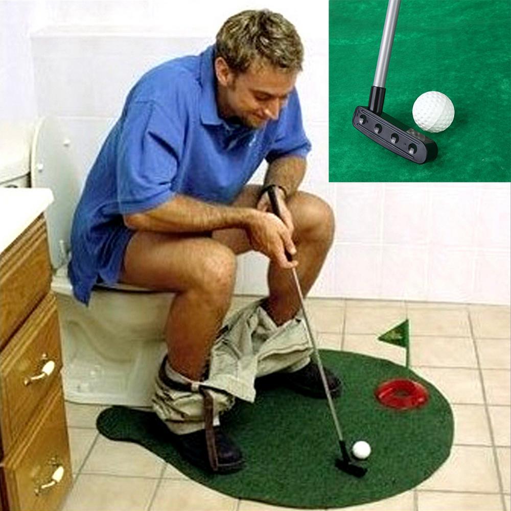 Lazımlık Atıcı Tuvalet Golf Oyunu Mini Golf Seti Tuvalet Golf Vuruş Yeşil Yenilik Oyunu Yüksek Kalite Erkekler Ve Kadınlar Için Pratik şakalar