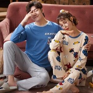 Image 4 - זוג Loungewear פיג מה סתיו החורף חדש אופנה זוגות פיג מה גברים ונשים התאמת 100% כותנה הלבשת פיג מה סט זוג
