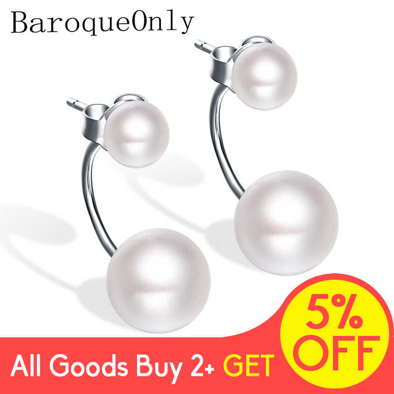 BaroqueOnly double pearls earring Jewelry natural freshwater pearl 925 Sterling Silver 2018 new arrival women gifts
