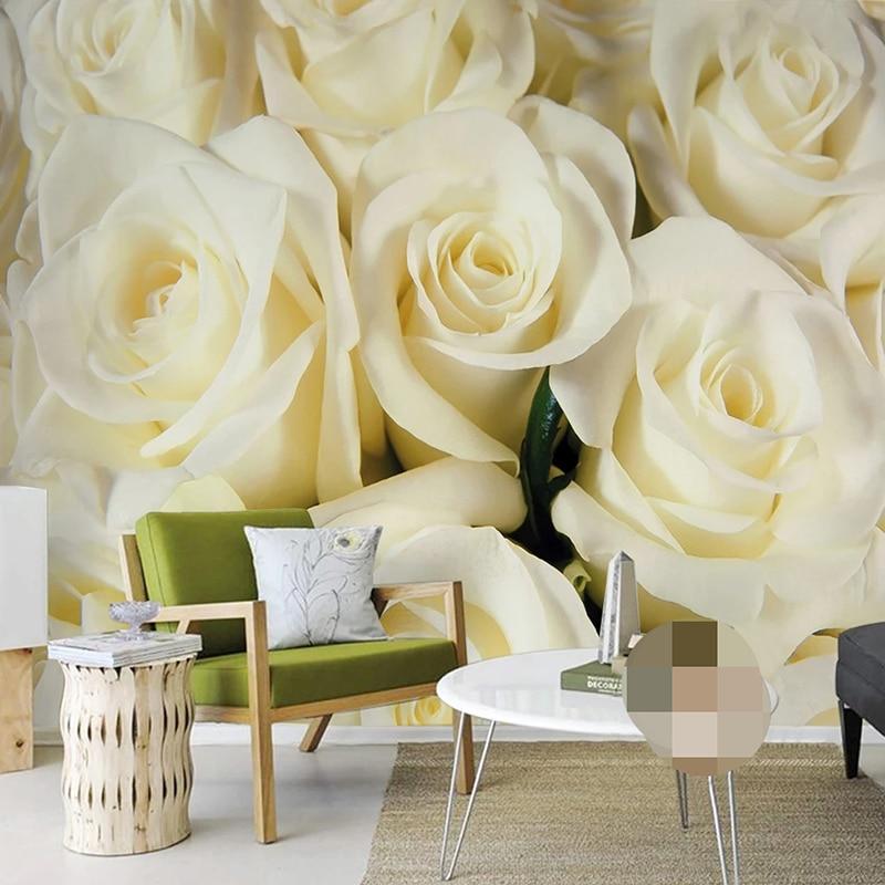Фотообои на заказ, настенные украшения с желтыми розами в современном стиле, для гостиной, спальни, столовой, 3D обои