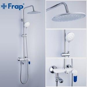 Image 2 - Frap אמבטיה לבן מקלחת ברז מקלחת גשם ראש מקלחת יד מרסס אמבטיה מקלחת מערכת סט מים ברז מיקסר Torneira F2431