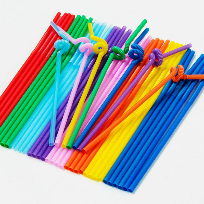 Kitchen Tools 100Pcs Extra Long Flexible Plastic Drinking Straws Party Bar Drinking Supplies