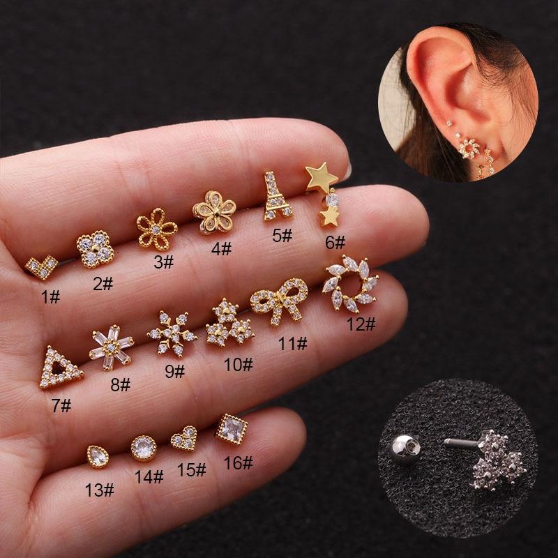 Triangle Heart Flower Tower Cz Ear Studs Helix Piercing Cartilage Earring Conch Rook Tragus Stud Ear Piercing Jewelry