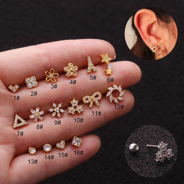 Triangle Heart Flower Tower Cz Ear Studs Helix Piercing Cartilage Earring Conch Rook Tragus Stud Ear.jpg 640x640 - Triangle Heart Flower Tower Cz Ear Studs Helix Piercing Cartilage Earring Conch Rook Tragus Stud Ear Piercing Jewelry