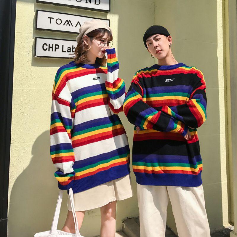 Свободный пуловер с длинными рукавами и круглым воротником с принтом; Повседневный свитер для пары; сезон осень-весна