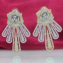 Wick doria female party swingable earrings zircon pendant wedding jewelry tassel rose gold bohemian sty