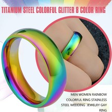 Men Women Rainbow Colorful Ring Stainless Steel Wedding Jewelry Gay Ring(China)