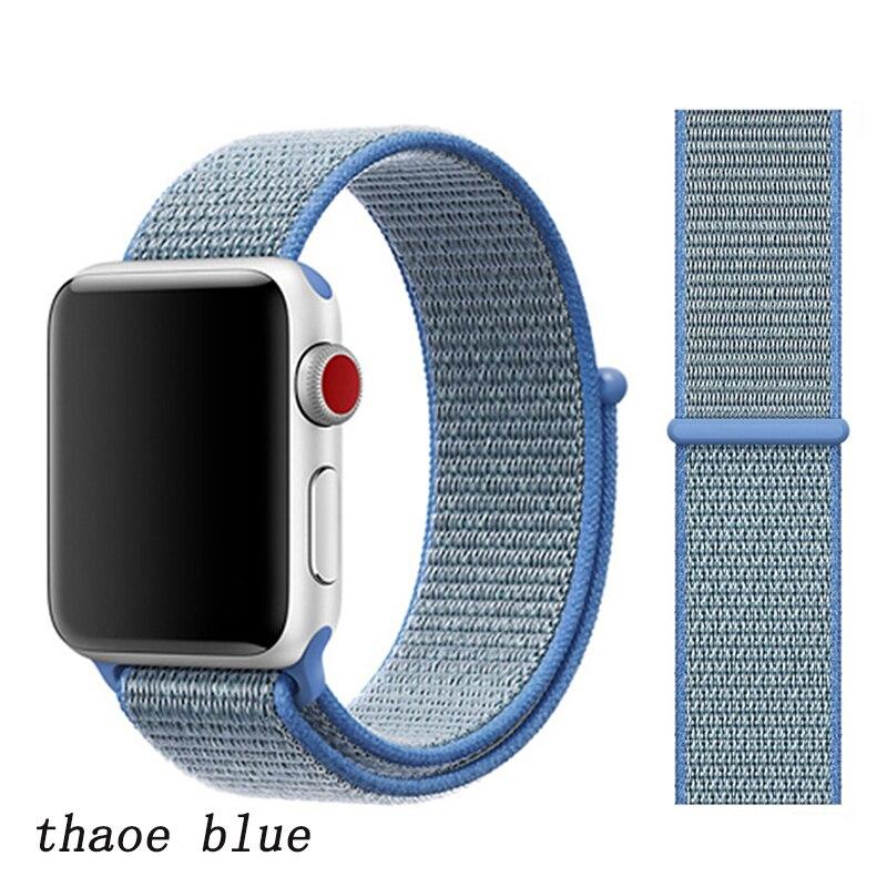 Спортивная петля ремешок apple watch band 42 мм 38 мм apple watch 4 3 band iwatch band 44 мм 40 мм correa pulseira 42 44 нейлоновый ремешок для часов - Цвет ремешка: tahoe blue