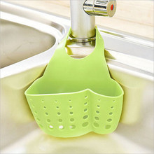 Creative adjustable buckle faucet drain basket sink hanging bag kitchen supplies hollow storage