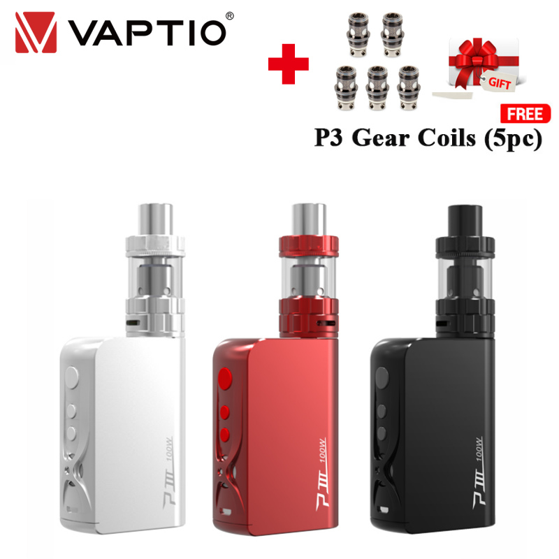 [En solde | livraison gratuite] cadeau 100W Vape Kit Vaptio P3 Gear e-cigarette 3000mAh intégré batterie 2.0ml kit de démarrage 510 réservoir de filetage