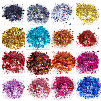 500grams 24 Colors Holographic Chunky Glitter Mix Loose Glitter Chunky Glitter Black Glitter Solvent Resistant Polyester Glitter фото